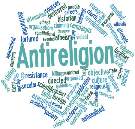 attempted: Abstract word cloud for Antireligion with related tags and terms
