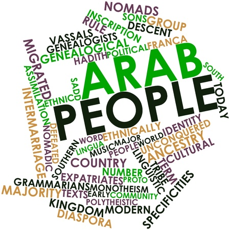 eponymous: Abstract word cloud for Arab people with related tags and terms