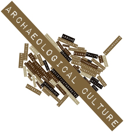 diffused: Abstract word cloud for Archaeological culture with related tags and terms Stock Photo