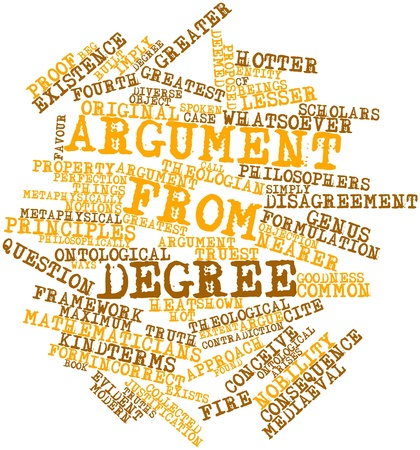 Abstract word cloud for Argument from degree with related tags and terms Stock Photo - 17198389