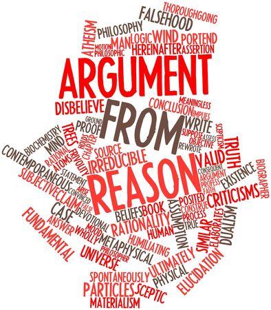 Abstract woordwolk voor Argument van de rede met gerelateerde tags en voorwaarden