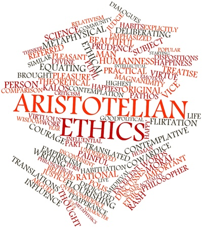 Abstract word cloud for Aristotelian ethics with related tags and terms