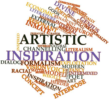 nascent: Abstract word cloud for Artistic inspiration with related tags and terms Stock Photo
