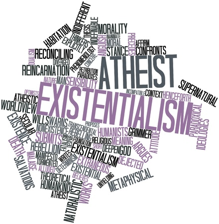 warns: Abstract word cloud for Atheist existentialism with related tags and terms