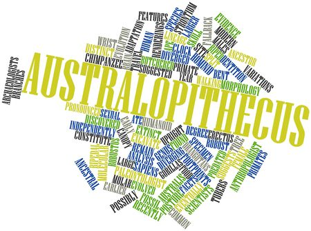 divergence: Abstract word cloud for Australopithecus with related tags and terms
