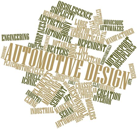 evident: Abstract word cloud for Automotive design with related tags and terms