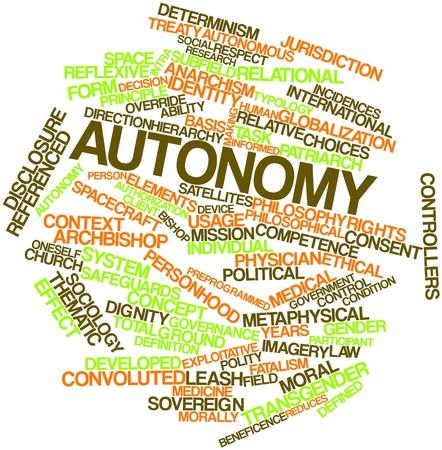 autonomia: Nube palabra abstracta para la Autonomía con etiquetas y términos relacionados Foto de archivo