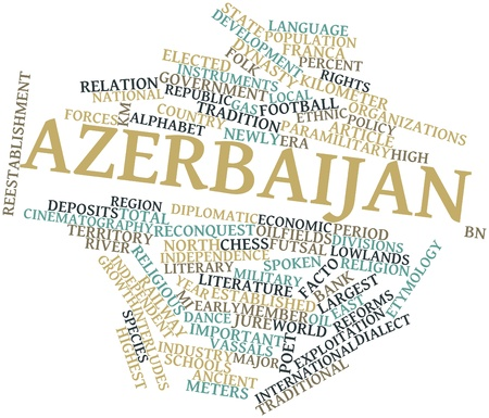 jure: Abstract word cloud for Azerbaijan with related tags and terms Stock Photo