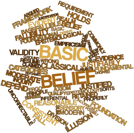 derive: Abstract word cloud for Basic belief with related tags and terms Stock Photo