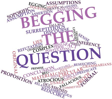 begging: Abstract word cloud for Begging the question with related tags and terms