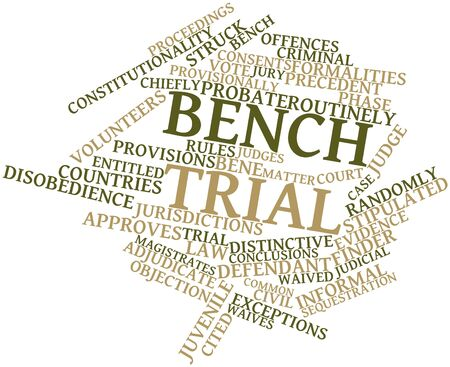 adjudicate: Abstract word cloud for Bench trial with related tags and terms