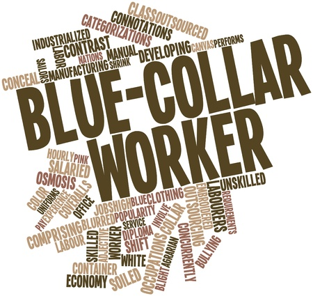 unskilled worker: Abstract word cloud for Blue-collar worker with related tags and terms