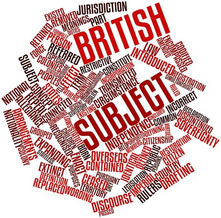amended: Abstract word cloud for British subject with related tags and terms Stock Photo