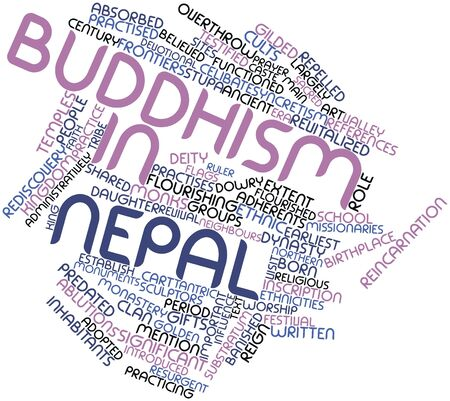 homage: Abstract word cloud for Buddhism in Nepal with related tags and terms