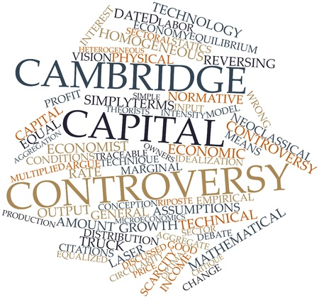 critique: Abstract word cloud for Cambridge capital controversy with related tags and terms
