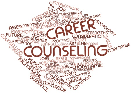 Abstract word cloud for Career counseling with related tags and terms photo