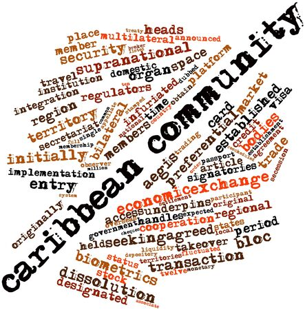 cheques: Abstract word cloud for Caribbean Community with related tags and terms Stock Photo