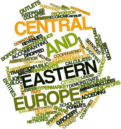 관련 태그와 조건에 중부 및 동부 유럽에 대한 추상적 인 단어 구름