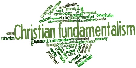 faction: Abstract word cloud for Christian fundamentalism with related tags and terms Stock Photo