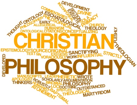 humanism: Abstract word cloud for Christian philosophy with related tags and terms Stock Photo