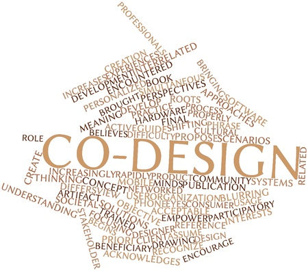encountered: Abstract word cloud for Co-design with related tags and terms Stock Photo