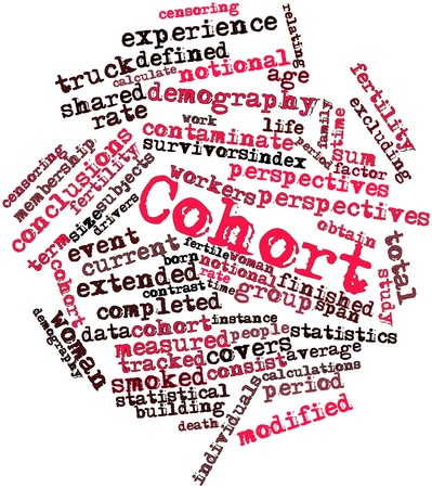 demografia: Nube palabra abstracta para la cohorte con etiquetas y términos relacionados