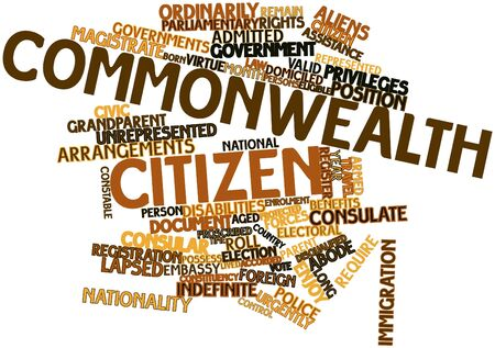 remain: Abstract word cloud for Commonwealth citizen with related tags and terms Stock Photo
