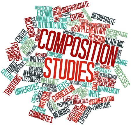 narration: Abstract word cloud for Composition studies with related tags and terms Stock Photo