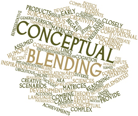 forerunner: Abstract word cloud for Conceptual blending with related tags and terms