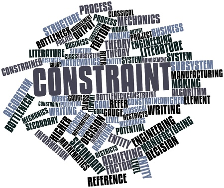 Abstract word cloud for Constraint with related tags and terms Banco de Imagens