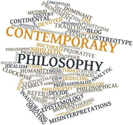 contemporaneous: Word cloud astratto per la filosofia moderna con tag correlati e termini
