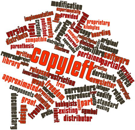 deemed: Abstract word cloud for Copyleft with related tags and terms Stock Photo