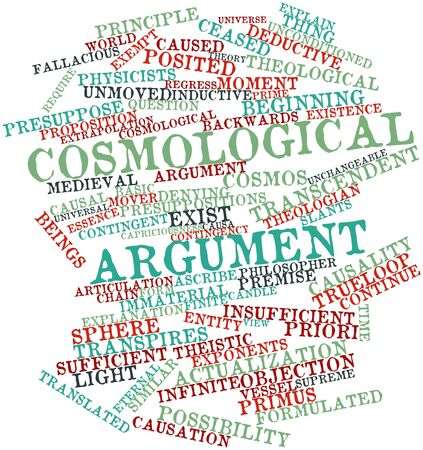 sufficient: Abstract word cloud for Cosmological argument with related tags and terms Stock Photo