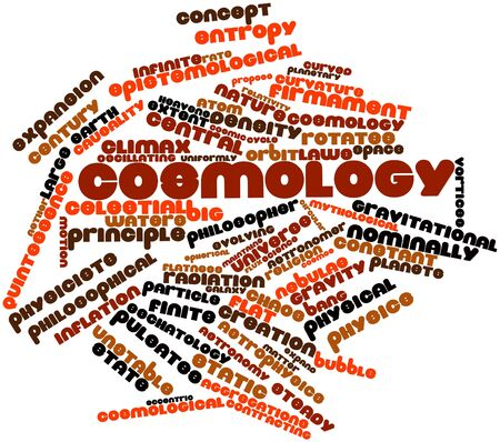 cosmology: Abstract word cloud for Cosmology with related tags and terms Stock Photo
