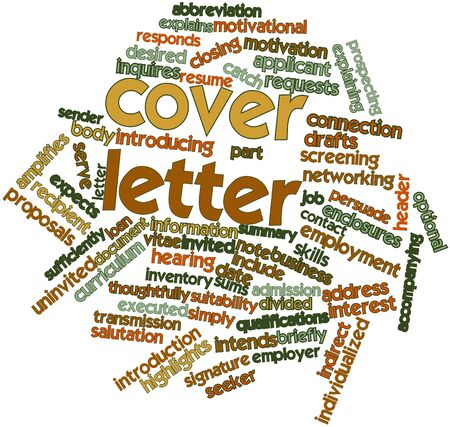 cloud cover: Abstract word cloud for Cover letter with related tags and terms Stock Photo