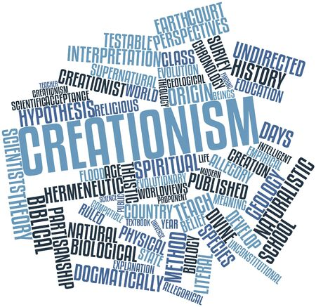 adherents: Abstract word cloud for Creationism with related tags and terms