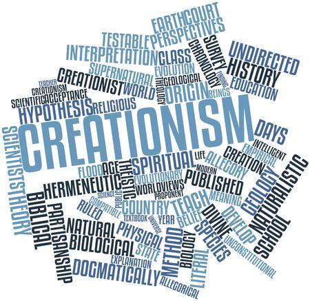 cronologia: Nube palabra abstracta para el creacionismo con etiquetas y términos relacionados