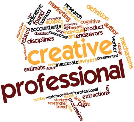 Abstract word cloud for Creative professional with related tags and terms Stok Fotoğraf - 17196955