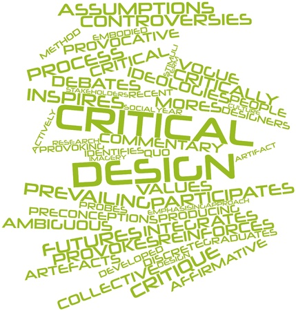 Abstract word cloud for Critical design with related tags and terms