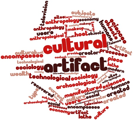 anthropological: Abstract word cloud for Cultural artifact with related tags and terms Stock Photo