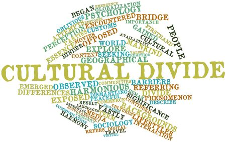 gained: Abstract word cloud for Cultural divide with related tags and terms Stock Photo