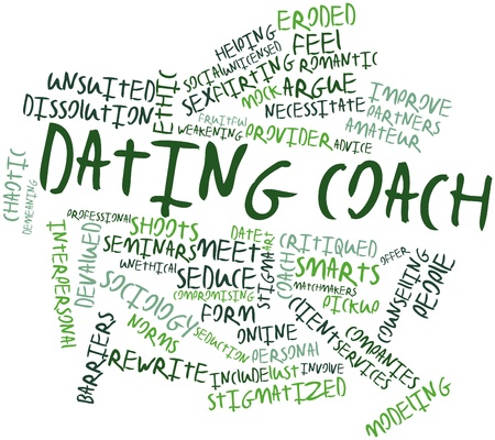 eroded: Abstract word cloud for Dating coach with related tags and terms