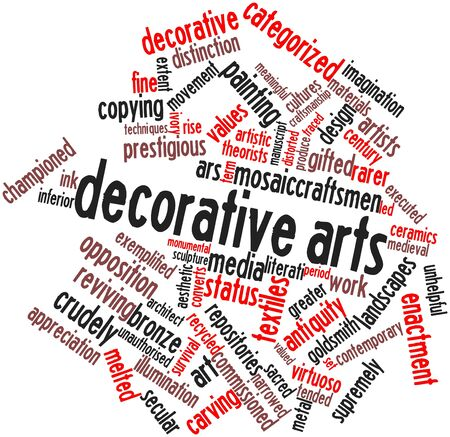 converts: Abstract word cloud for Decorative arts with related tags and terms