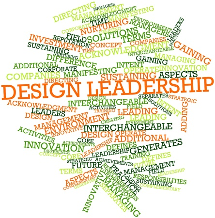 acknowledgment: Abstract word cloud for Design leadership with related tags and terms Stock Photo
