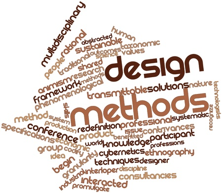 pragmatic: Abstract word cloud for Design methods with related tags and terms