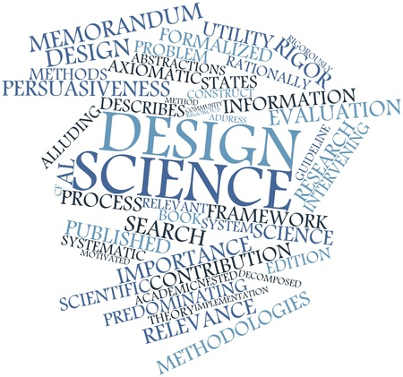 persuasiveness: Abstract word cloud for Design science with related tags and terms Stock Photo