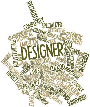 subdivided: Abstract word cloud for Designer with related tags and terms Stock Photo