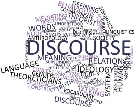Abstract word cloud for Discourse with related tags and terms Stock Photo - 17197289