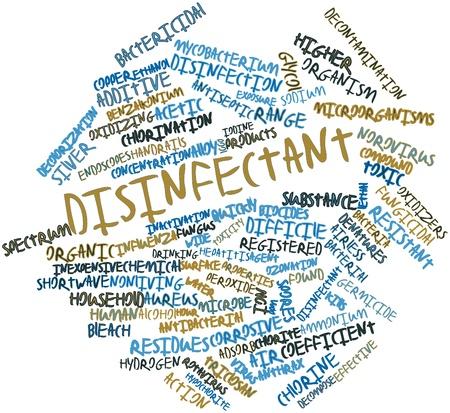desinfectante: Nube palabra abstracta para Desinfectante con etiquetas y t�rminos relacionados Foto de archivo