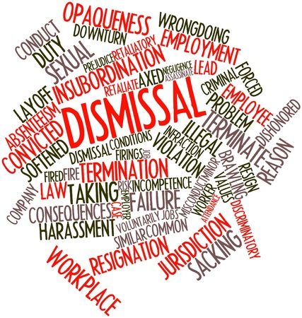disgraceful: Abstract word cloud for Dismissal with related tags and terms Stock Photo